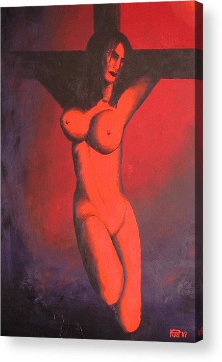 Nude Acrylic Print featuring the painting Crux by Poul Costinsky