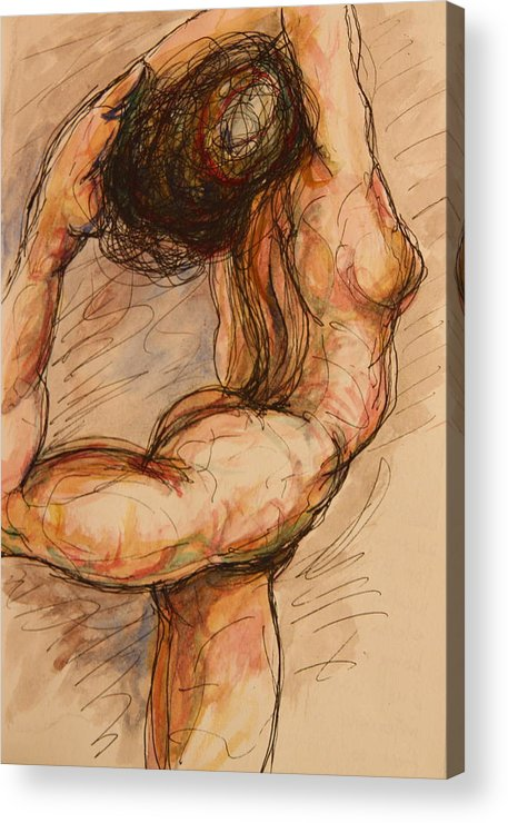 Female Nude Acrylic Print featuring the painting Dance After Rodin by Dan Earle