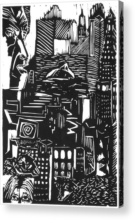 Apocalypse Buildings City Drown Lino Metropolis People Print Sheep Darkestartist Darkest Artist Black Acrylic Print featuring the mixed media Drowning In Metropolis by Darkest Artist