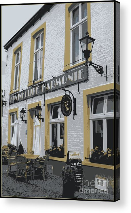 Gray And Yellow Acrylic Print featuring the photograph Dutch Cafe - Digital by Carol Groenen