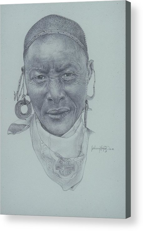 Acrylic Print featuring the painting Earrings And Bandana by Mahto Hogue