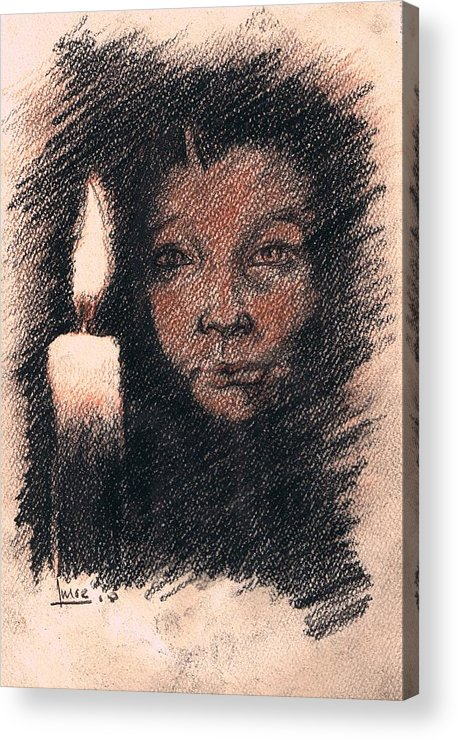 Portrait Acrylic Print featuring the drawing En El Dia De Todos Los Santos by Victor Amor
