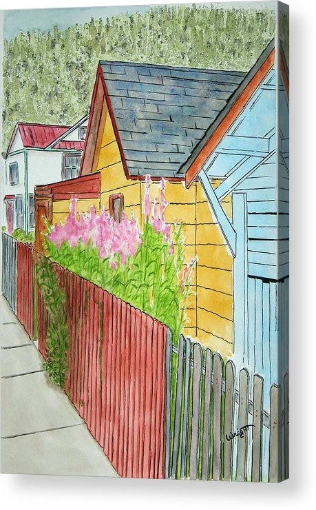 Alaska Art Acrylic Print featuring the painting Fireweed In Juneau by Larry Wright