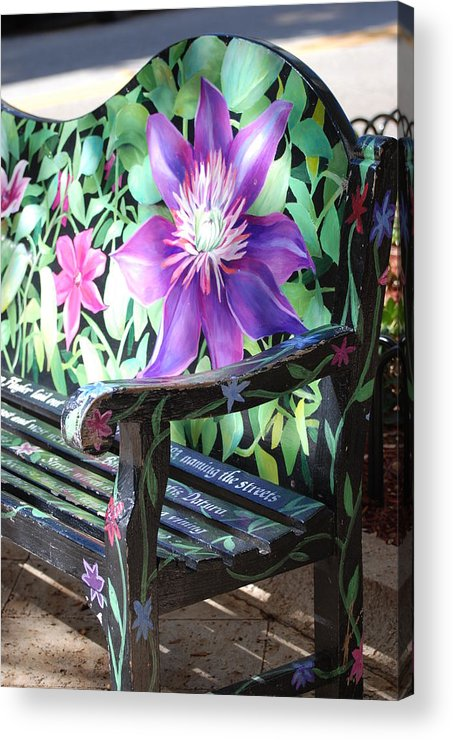 Macro Acrylic Print featuring the photograph Flower Bench by Rob Hans