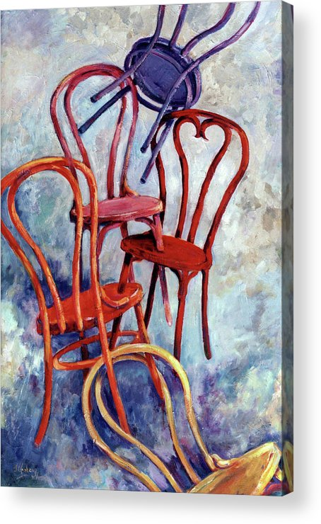 Bentwood Chairs Acrylic Print featuring the painting Flying Bentwoods by Jean Groberg