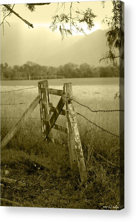 Gate Acrylic Print featuring the photograph Forgotten Fields by Holly Kempe
