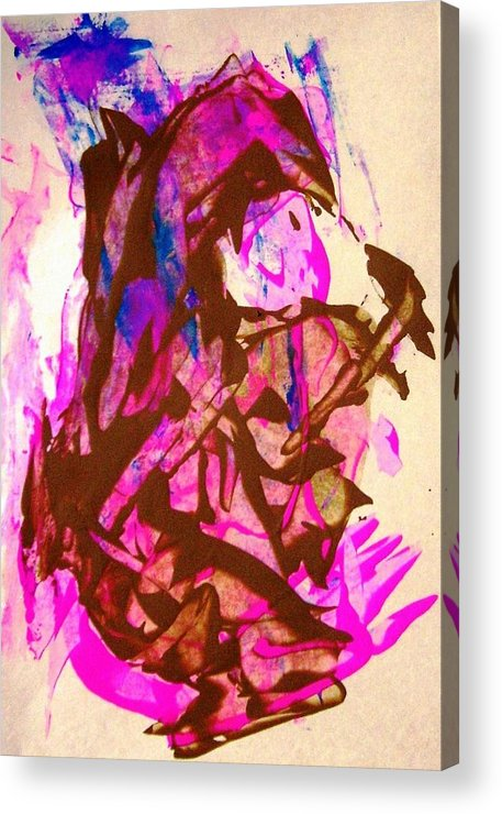 Brown Acrylic Print featuring the painting Funny Little Handy Person by Bruce Combs - REACH BEYOND