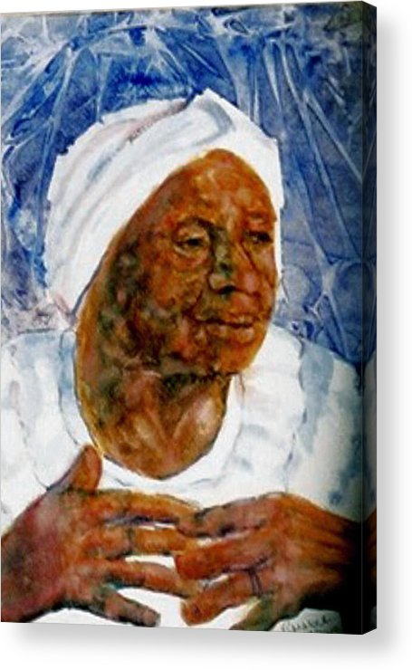 Black Woman Acrylic Print featuring the painting Gather Us In by Ruth Mabee