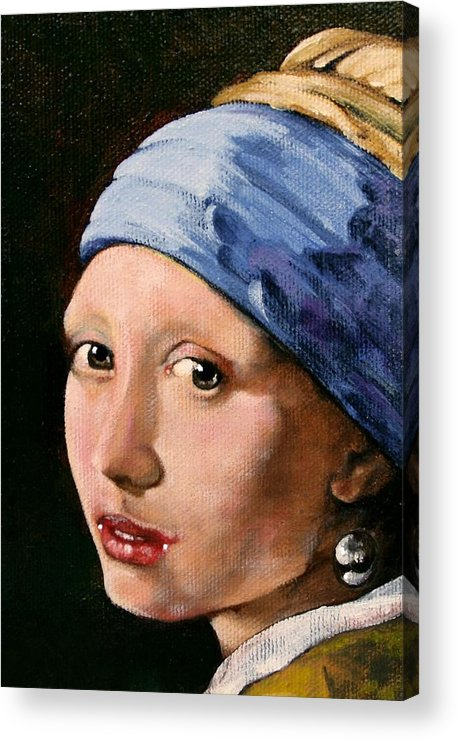 Portrait Acrylic Print featuring the painting Girl With A Pearl Earring A Reproduction Of Vermeer by Joan Garcia