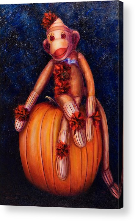 Pumpkin Acrylic Print featuring the painting Halloween by Shannon Grissom