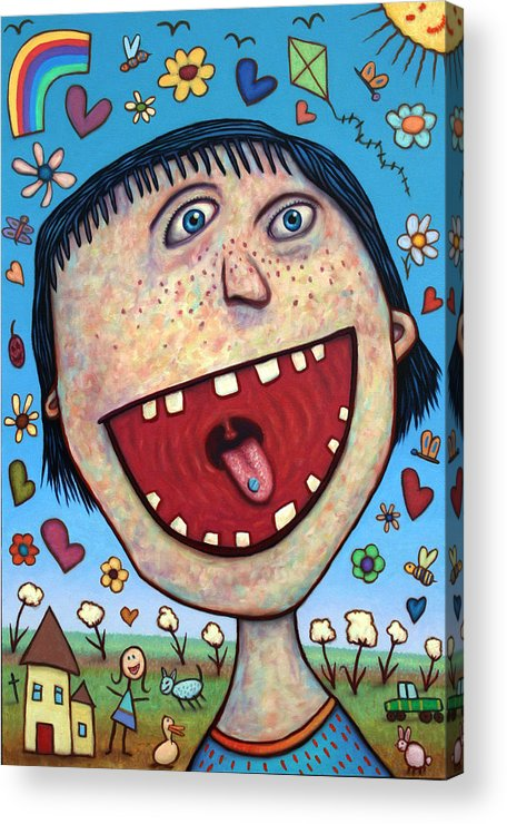 Happy Acrylic Print featuring the painting Happy Pill by James W Johnson