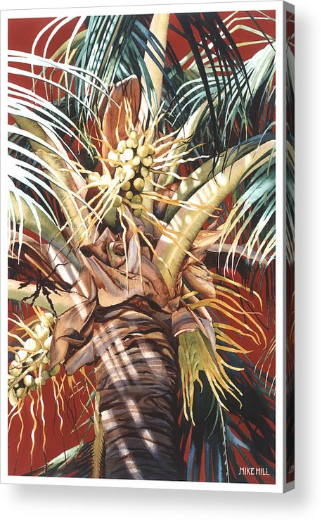 Coconut Palm Palms Tree Red Breeze Hawaiian Maui Hawaii Acrylic Print featuring the painting Hawaiian Fireworks by Mike Hill