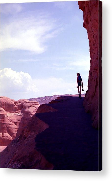 Hiker Acrylic Print featuring the photograph Hiker In Silhouette by Steve Ohlsen
