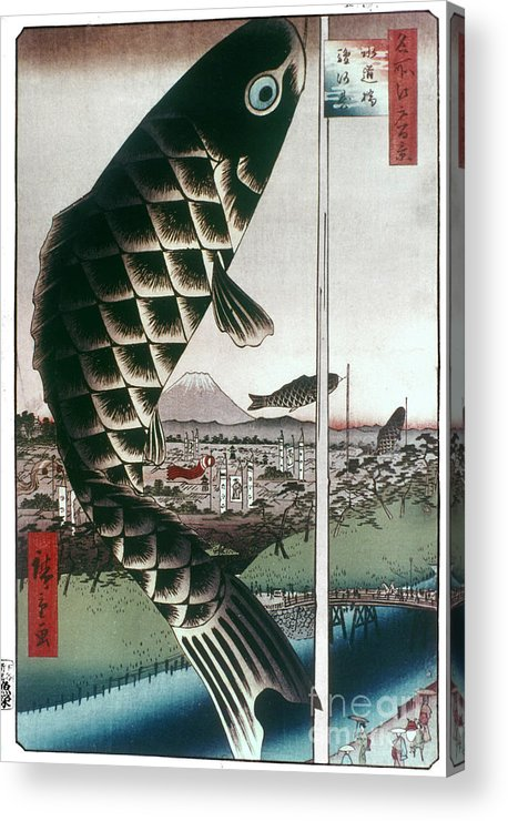 100 Famous Views Of Edo Acrylic Print featuring the photograph Hiroshige: Kites, 1857 by Granger