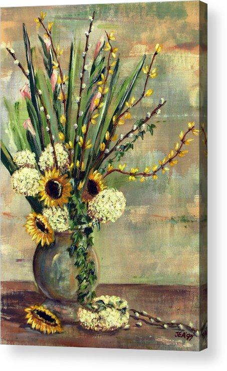 Hydrangeas Acrylic Print featuring the painting Hydrangeas by Judy Anderson