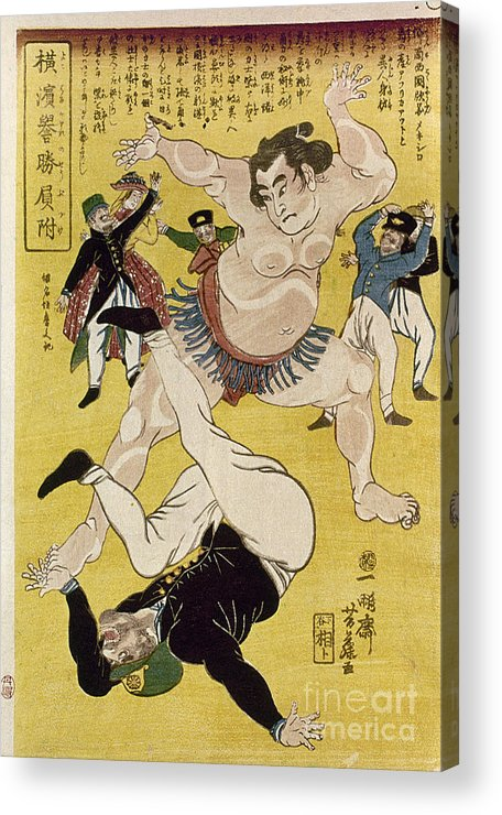 1861 Acrylic Print featuring the photograph Japan: Sumo Wrestling by Granger