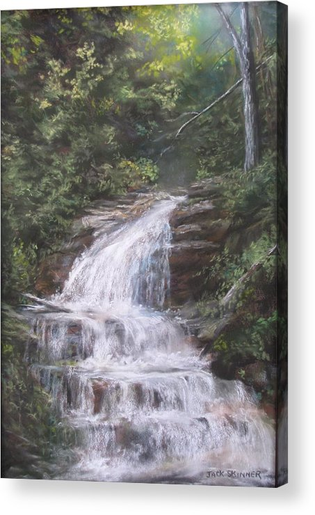 Waterfall Acrylic Print featuring the pastel Kent Falls by Jack Skinner