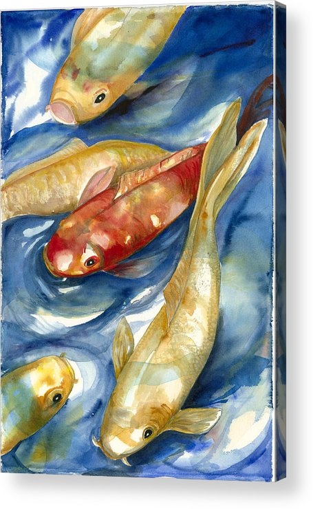 Koi Fish Painting Acrylic Print featuring the painting Koi Fish II by Ileana Carreno