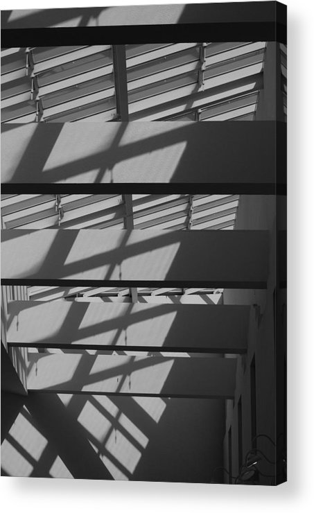 Black And White Acrylic Print featuring the photograph Ladders In The Sky by Rob Hans