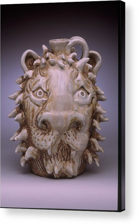 Face Jug Acrylic Print featuring the ceramic art Lion Face Jug by Stephen Hawks