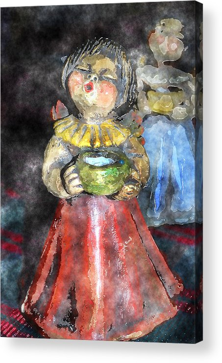 Angel Acrylic Print featuring the digital art Little Christmas Angel-abstract by Patricia Motley