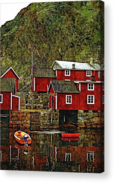 Lofoten Acrylic Print featuring the photograph Lofoten Fishing Huts Overlay Version by Steve Harrington