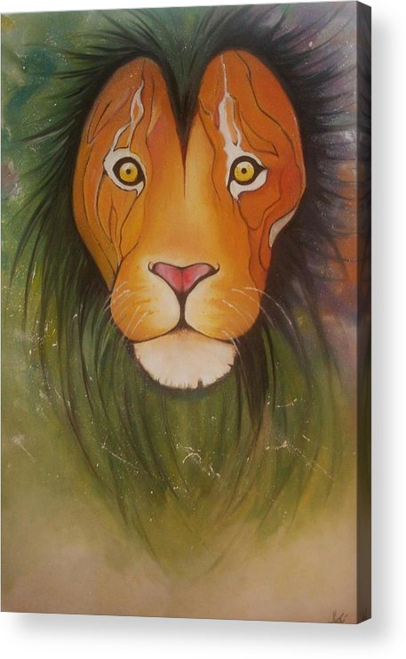 #lion #oilpainting #animal #colorful Acrylic Print featuring the painting Lovelylion by Anne Sue