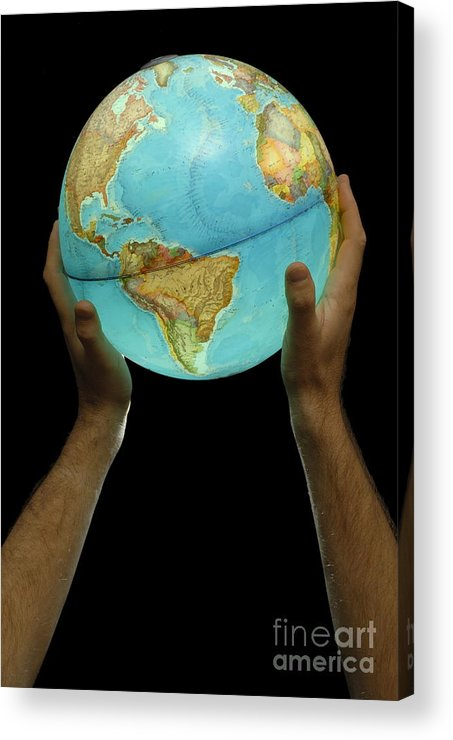 People Acrylic Print featuring the photograph Man Holding Illuminated Earth Globe by Sami Sarkis