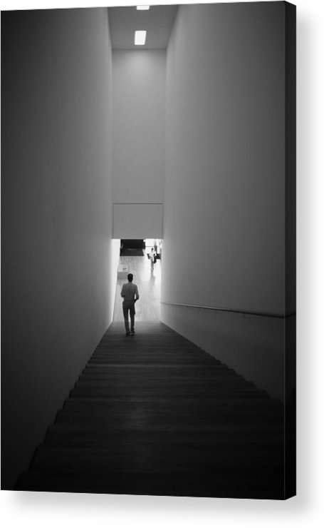Man Acrylic Print featuring the photograph Man On Stairway by Carl Purcell