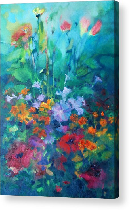 Flowers Abstract Abstraction Realism Impressionist Colors Acrylic Print featuring the painting Market Pack by Linda Puiatti