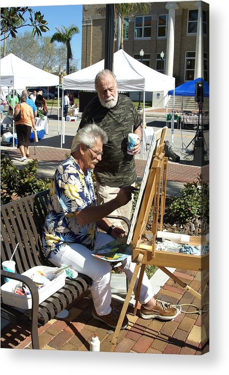Artists Working Acrylic Print featuring the photograph Merle Hummell Watches Me Paint by Charles Peck