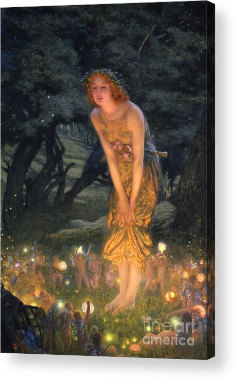 Pre Raphaelite Acrylic Print featuring the painting Midsummer Eve by Edward Robert Hughes