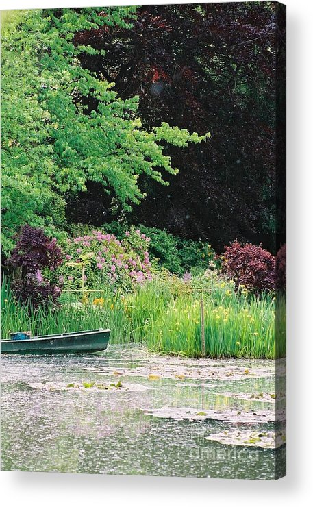 Monet Acrylic Print featuring the photograph Monet's Garden Pond And Boat by Nadine Rippelmeyer