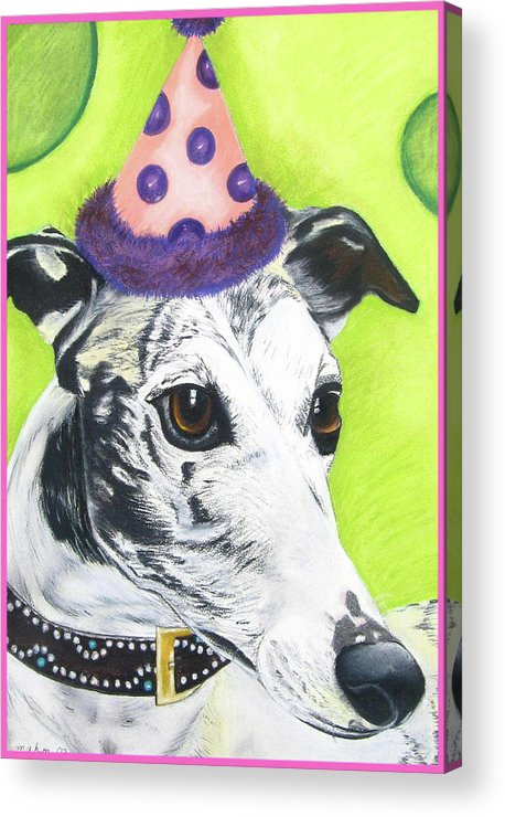 Dog Painting Acrylic Print featuring the pastel Monte by Michelle Hayden-Marsan