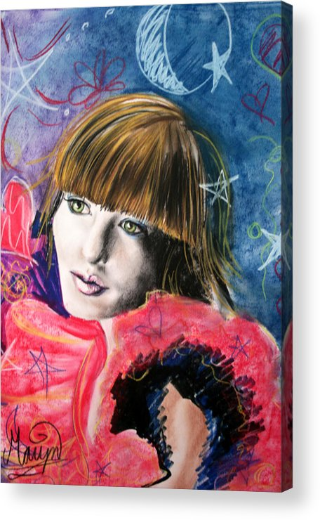 Portrait Acrylic Print featuring the drawing Moonlight Glam by Maryn Crawford