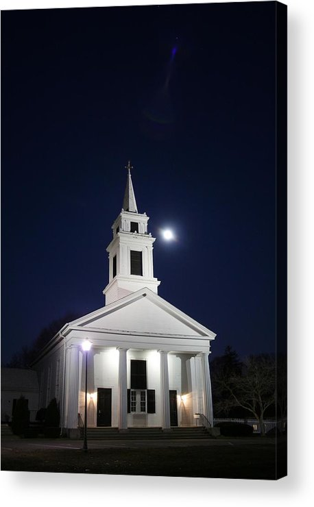 Church Acrylic Print featuring the photograph Moonlit Church by Jeff Porter
