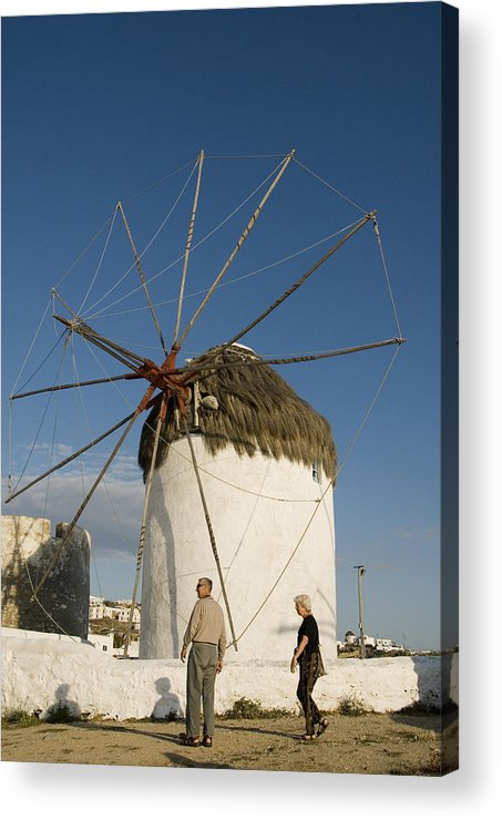 Mykonos Acrylic Print featuring the photograph Mykonos Icon Windmill by Charles Ridgway