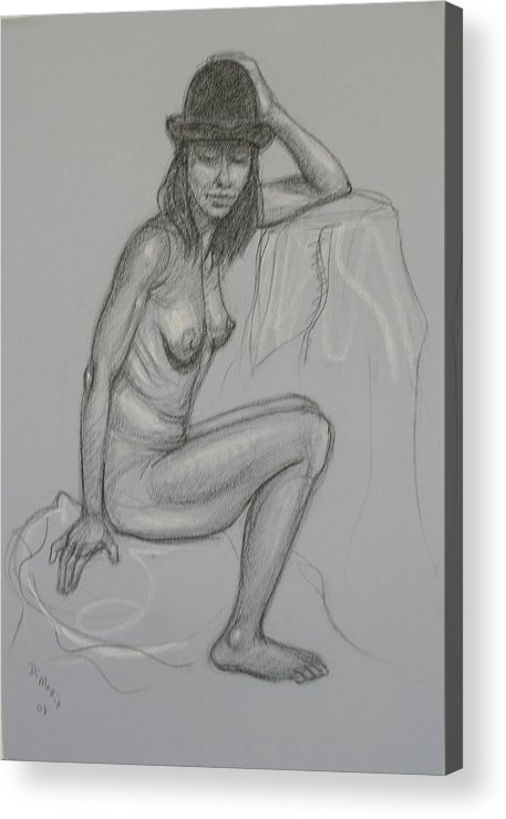Realism Acrylic Print featuring the drawing Nude With Hat 1 by Donelli DiMaria