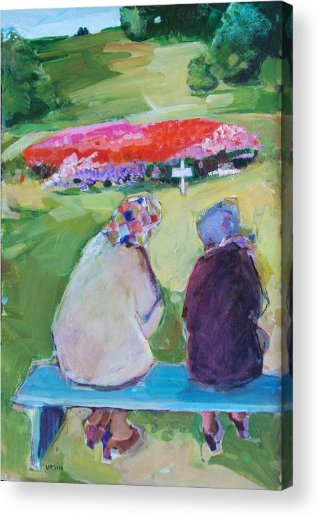 Women Acrylic Print featuring the painting Old Friends by Diane Ursin
