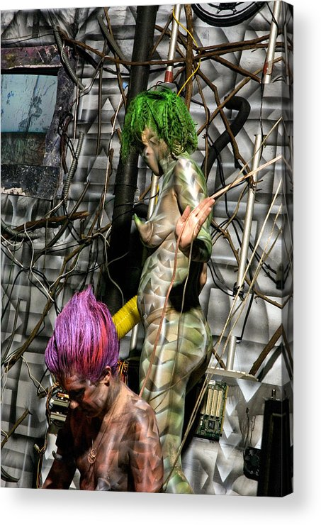 Paint Acrylic Print featuring the painting Orgomechanic Deirdreellanor by Leigh Odom