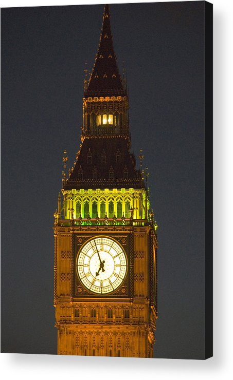 Parlkiament Acrylic Print featuring the photograph Parliament Tower At Night by Charles Ridgway