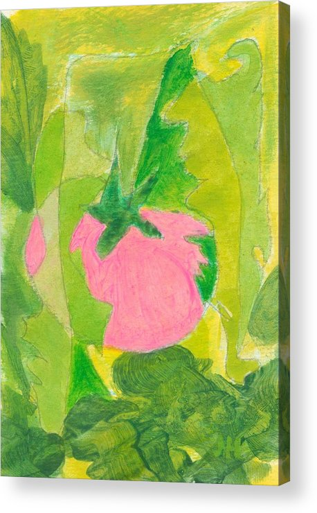 Abstract Art For Sale Acrylic Print featuring the painting Pink Tomato by Jerry Hanks