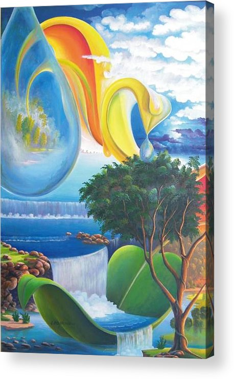 Surrealism - Landscape Acrylic Print featuring the painting Planet Water - Leomariano by Leomariano artist BRASIL