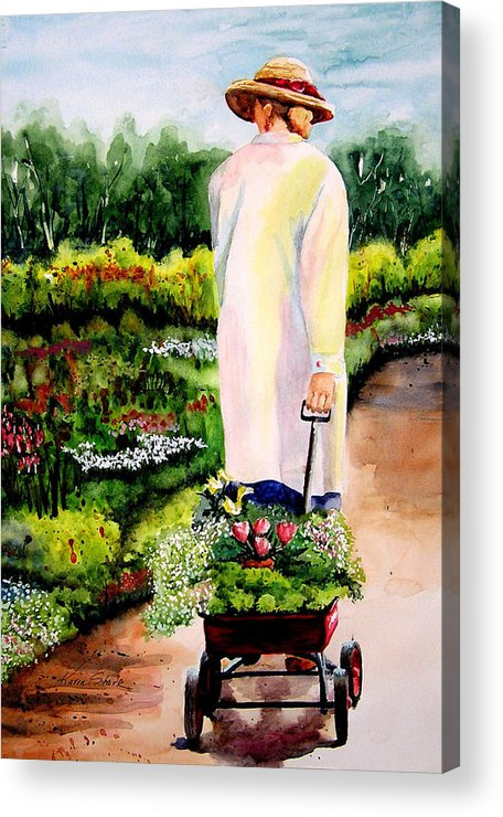 Garden Acrylic Print featuring the painting Planting Plans by Karen Stark