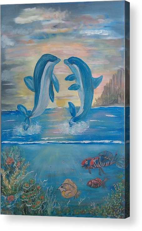 Original Acrylic Print featuring the painting Playful Dolphins by Mikki Alhart
