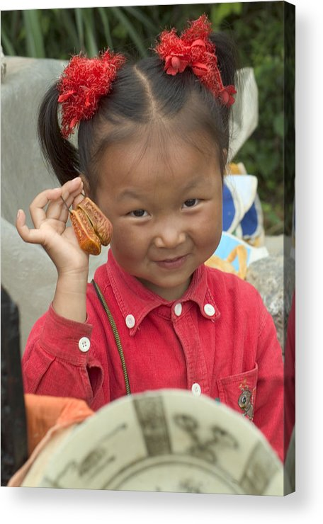 Chinese Girl Acrylic Print featuring the photograph Please Buy My Shoes by Charles Ridgway