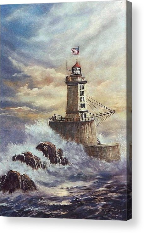 Lighthouse Acrylic Print featuring the painting Point St. George Reef Lighthouse by Lynne Parker
