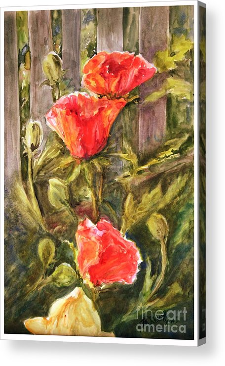 Poppies By The Fence Acrylic Print featuring the painting Poppies By The Fence by B Rossitto