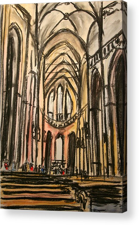 Prague. Catherderal. Religious. Acrylic Print featuring the painting Prague Catherderal by John Cox