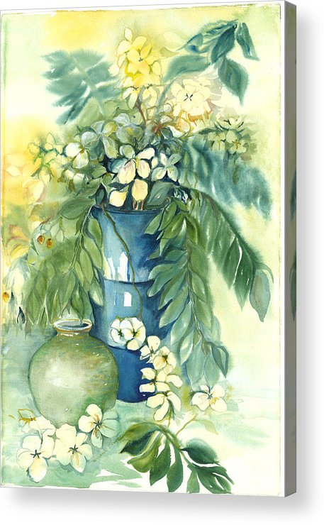 Very Loose Still Life Of Vase And Flowers Acrylic Print featuring the painting Queen Emma In Blue Vase by Ileana Carreno